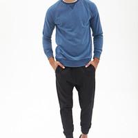 Distressed Crew Neck Sweatshirt Blue