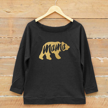 Women sweatshirt - Mama shirt family gifts mom tshirt women off shoulder sweatshirt slouchy jumper gold print metallic print glitter print