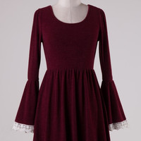 Lace and Merlot Bell-Sleeve Dress