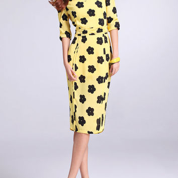 Yellow Printing chiffon dress womens dress long sleeve dress fashion dress long dress ---WD079