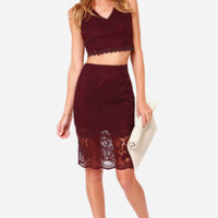 Duo M.G. Burgundy Lace Two-Piece Dress