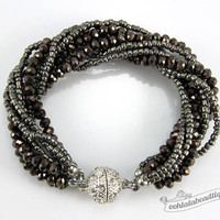 Pewter Multi strand Crystal bracelet pewter beaded jewelry multi strand bracelet gray crystal bracelet sparkly evening bracelet gift for her