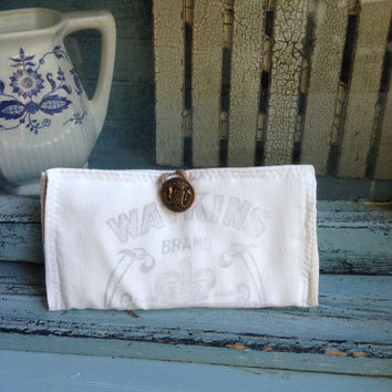 Vintage Walkins Crystal salt sack wallet, cotton wallet, tea wallet, hipster bag wallet
