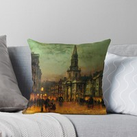 'John Atkinson Grimshaw - Blackman Street London' Throw Pillow by planetterra