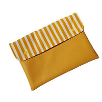 Sunshine stripes vegan leather clutch, ipad case, cover