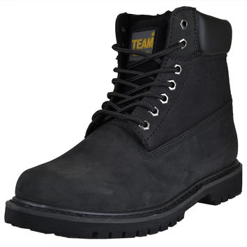 Mens Boots Water and Oil Resistant Work Or Hiking Shoes Black