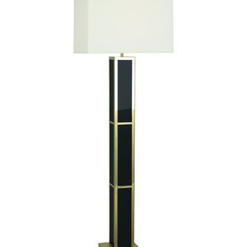 Barcelona Black Opaque Acrylic & Polished Brass Floor Lamp | Black