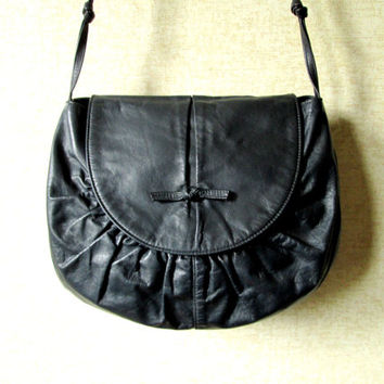 Hobo Bag midnight blue dark navy leather boho bag satchel shoulder bag hipster purse ruched leather vintage 80s