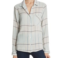 Side StitchClassic Plaid Button-Down Shirt