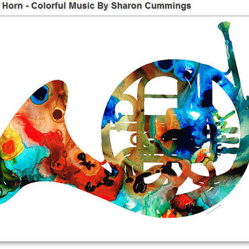 French Horn Art Print Painting Band Camp Musician Music Colorful Marching Brass CANVAS Ready To Hang Large Artwork FREE Shipping S/H