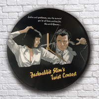 Pulp Fiction dance painted vinyl record clock