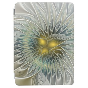Golden Silver Flower abstract Fractal Art Monogram iPad Pro Cover