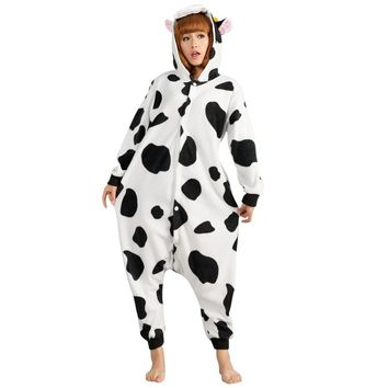 Animal Adult Flannel Costume Cow Onesuit Pajama Halloween Carnival Masquerade Party Jumpsuit Clothing