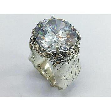 A Flawless Handmade Oxidized Sterling Silver 6CT Round Cut Russian Lab Diamond Halo Engagement Ring