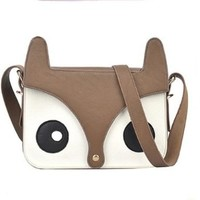 ZLCY Super Cute Ladies Retro Fox Leather Shoulder Bag for Women (green)
