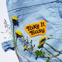 Take It Easy Chain Stitched Patch (available in assorted colors)