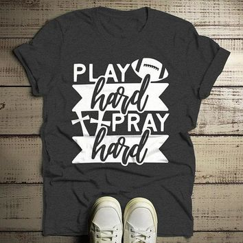 Men's Football T Shirt Play Hard Tshirt Pray Hard Shirts Graphic Tee Game Day Tshirts