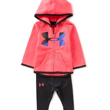 Under Armour Baby Girls Newborn-24 Months Logo Zip-Up Hoodie & Leggings Set | Dillards