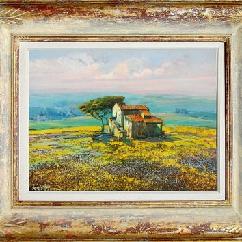 Italian painting spring landscape Tuscany panorama original oil of Giuseppe Landi Italy - Frame included