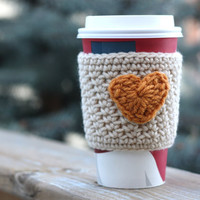 Crochet Coffee Cup Cozy / Sleeve - Cream with Mustard Yellow Heart (Ready to Ship)