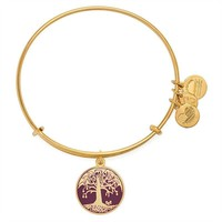 Alex and Ani Cabernet Tree of Life Charm Bangle - Shiny Gold Finish