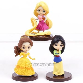 Princesses Dolls Beauty and the Beast Mulan Rapunzel Mini PVC Figures Toys Girls Gifts 3pcs/set