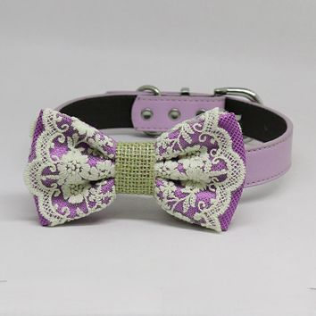 Lavender Dog Bow Tie collar, Lace and Burlap, Handmade dog collar, Purple Lace bow tie