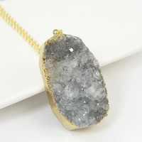 Gray Druzy Necklace - Geode Gold Natural Stone Rough Gemstone Pendant Jewelry