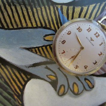 Wittnauer Swiss Pocket Watch Open Face Gold Plated