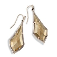 Olivia Silver Drop Earrings in Pyrite | Kendra Scott