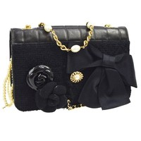 Chanel Black Leather Flower Bow Evening Clutch Pearl Chain Shoulder Flap Bag
