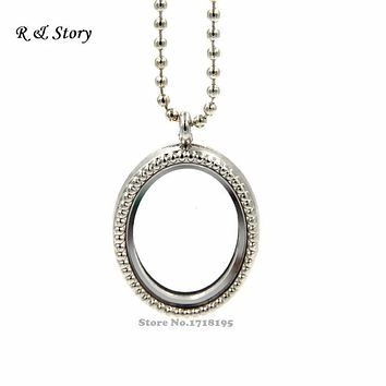 Vintage Silver Oval Living Memory Locket for Floating Charms with Chain LFL_053