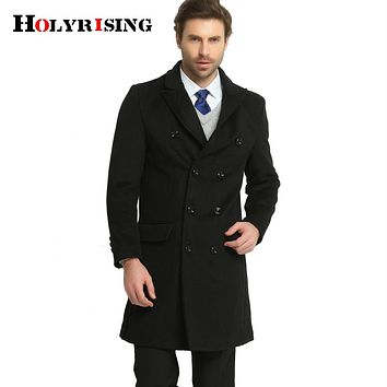 Men Wool Jackets Double Button Woolen Turn Collar Slim Male Solid Coats And Jackets High Quality