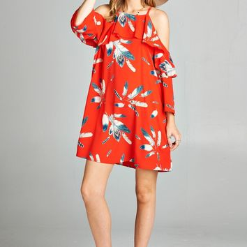 Feather Print Cold Shoulder Dress With Ruffled Sleeve