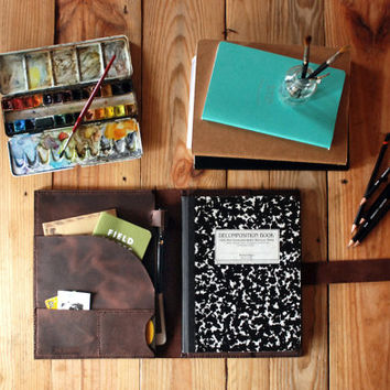 Composition book and Ipad Air case. Extra large Moleskine and Ipad Air leather cover with pockets. Ipad leather case. Ipad folder.