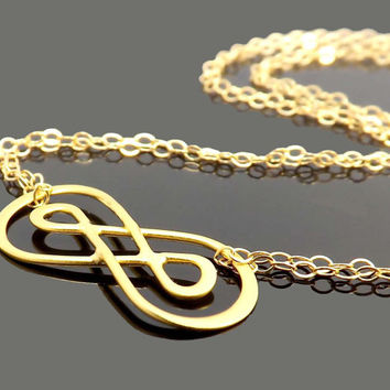 Double Infinity charm bracelet - birthday, wedding, Mothers Day, friendship - Sterling silver or gold filled