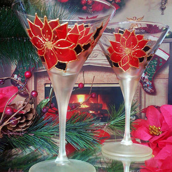 Set of 2 hand painted martini Christmas glasses Winter poinsettia theme