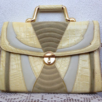 Cream Beige Satchel Purse, Genuine Leather Ladies Briefcase, Structured Handbag, 80s Crossbody Bag, Off White Shoulder Bag, Geometric Purse
