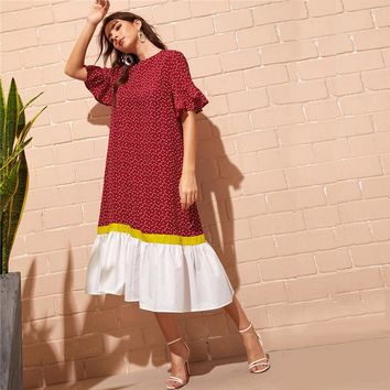 Red Bell Sleeve Colorblock Polka Dot Boho Long Dress Women Drop Waist Dress Ruffle Hem Loose Straight Abaya Dresses