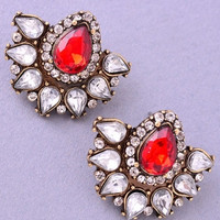 Retro Jeweled Fan Earrings - Red/Crystal or Crystal