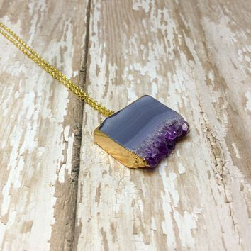 Amethyst Slab/Slice Pendant with Gold Plated Top