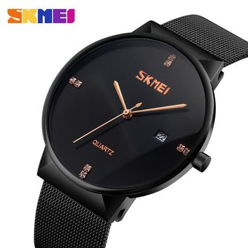 SKMEI Men Stainless Steel Watch  Waterproof Quartz