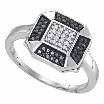 Sterling Silver Womens Round Black Color Enhanced Diamond Square Cluster Ring 1/5 Cttw