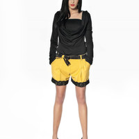 SEXY Gray Woollen Shorts with Removable Lace Belt / Stylish Fall Winter Trouser Plus Sizes