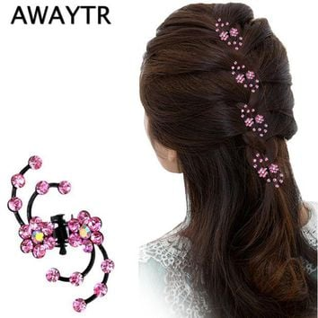 VONEGQ Hair Claw Clip 6Pcs/Lot Hot Sale Charming Sweet Exquisite Rhinestone Plum Flower Hair Claws Hair Jewelry Accessories