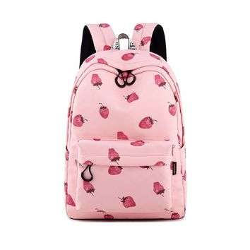 "Girls bookbag Waterproof Pink Strawberry Print Backpack with 15.6"" Laptop Sleeve Cute Bookbag for Teen Girls Women Backpack Purse AT_52_3"