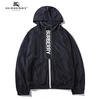Burberry fashionable light-weight printed fluorescent striped hoodie hot seller with a cut-out sunblock at the back Black