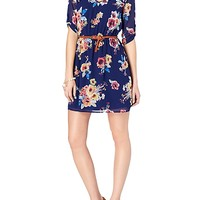 Belted Floral Chiffon Dress
