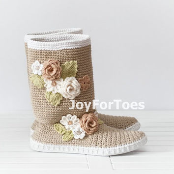Crochet Boots for the Street Folk Tribal Boots Boho Boots Made to Order  Beige