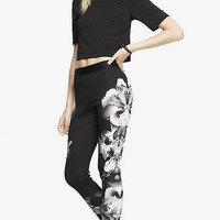PLACED FLORAL DOUBLE KNIT LEGGING from EXPRESS